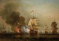 Explosión del galeón San José,  por Samuel Scott  (fuente: https://es.wikipedia.org/wiki/Galeón_San_José)